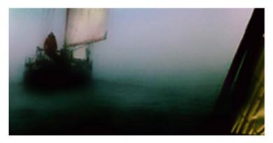 Plotseling opkomende mist op het Wad, november