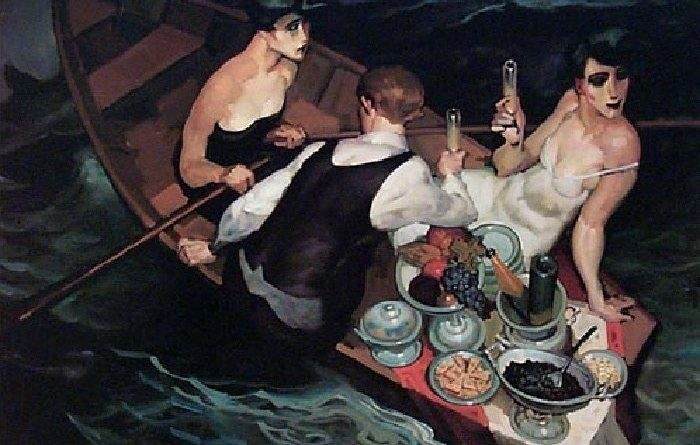 Picnic at the sea, Juarez Machado Schilderij van picknick in een roeiboot