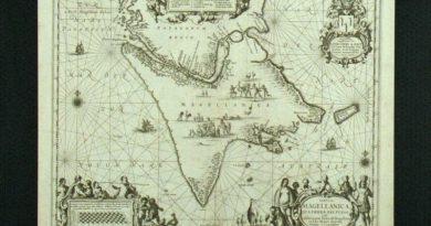 tabula magellanica qua tierrae del fuego kaart gemaakt door j janssonius ca 1652 afgebeeld is vuurland met daarboven de straat maggelaan