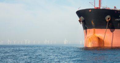 Windmolenpark met met geankerd containerschip op zee