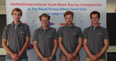 Jelmer van Beek, Rutger Vos, Robin Jacobs en Will Dargville in Sydney met team Dutch Wave bij de International Harken Youth Match Race